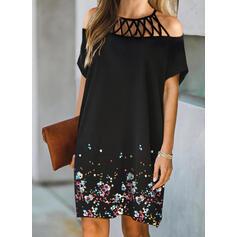 Print/Floral/Hollow-out Short Sleeves Shift Above Knee Elegant Dresses
