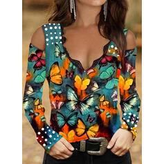 butterfly Zimne ramię Długie rękawy T-shirty