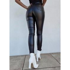 Sólido PU Largo Casual Sexy Tallas Grande Botones Pantalones