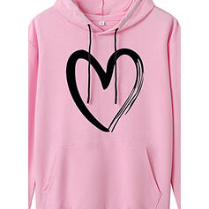 Print Heart Pockets Long Sleeves Hoodie