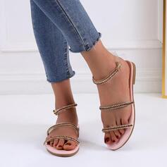 De mujer PU Tacón plano Sandalias Planos con Hebilla Agujereado zapatos