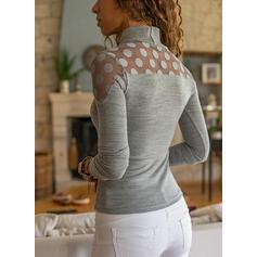 Solid Lace PolkaDot High Neck Long Sleeves Elegant Blouses