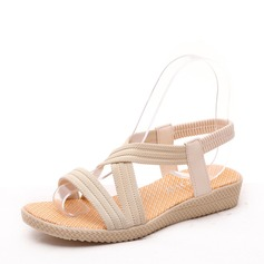Frauen Veloursleder Stoff Flascher Absatz Sandalen Peep Toe Slingpumps mit Andere Gummiband Schuhe