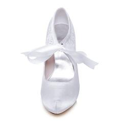 Women's Lace Satin Stiletto Heel Closed Toe Platform Pumps With Split Joint
