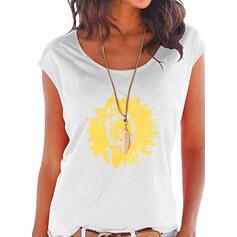 Impresión de girasol Cuello redondo Manga de Gorra Casual Camisetas