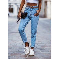 Patchwork Shirred Long Sexy Plain Denim & Jeans