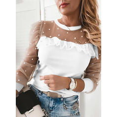Solid Beaded Round Neck Long Sleeves Elegant Blouses