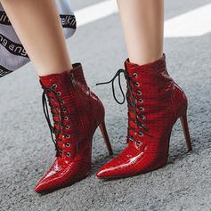 Vrouwen Patent Leather Stiletto Heel Pumps Laarzen Half-Kuit Laarzen met Vastrijgen schoenen