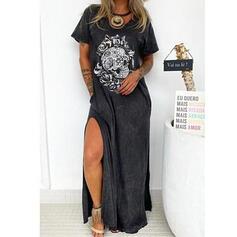 Druck/Blumen Kurze Ärmel Shift T-Shirt Freizeit Maxi Kleider