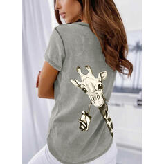 Animal Print V-Neck Short Sleeves Casual T-shirts