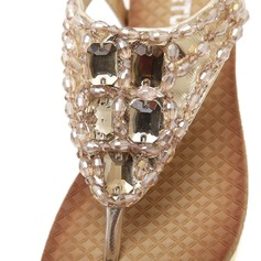 Women's Leatherette Wedge Heel Sandals With Rhinestone shoes