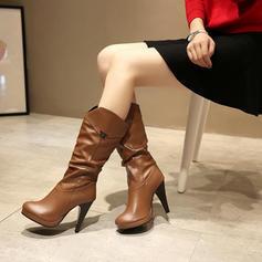 Naisten Keinonahasta Piikkikorko Avokkaat Suljettu toe Kengät Knee saappaat Mid-calf saappaat jossa Solki kengät