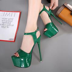 Femmes Cuir verni Talon stiletto Sandales Escarpins Plateforme À bout ouvert Escarpins avec Boucle chaussures