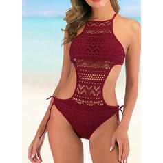 Hollow Out Strap Halter Round Neck Sexy One-piece Swimsuits