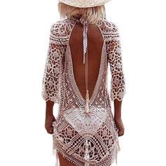 Jednobarevné Maneca lunga Kulatý výstřih Elegantní Přehozy Costume de baie