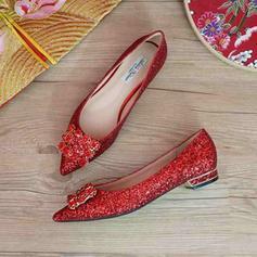 Femmes Pailletes scintillantes Talon plat Bout fermé Chaussures plates avec Pailletes scintillantes Cristal