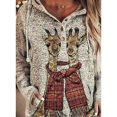 Animal Print Pockets Long Sleeves Hoodie