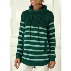 Striped Chunky knit Stand Collar Sweaters