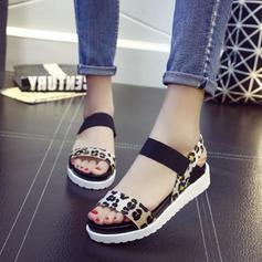 Women's PU Flat Heel Sandals Flats With Elastic Band shoes