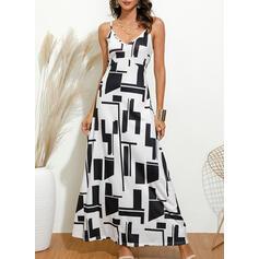 Print Sleeveless A-line Slip Casual Maxi Dresses