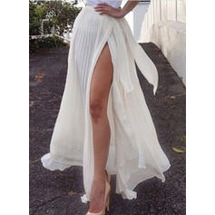 Chiffon Plain Maxi High-Slit Skirts