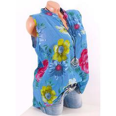 Estampado Floral Decote em V Sem Mangas De Botão Casual Camisetas regata