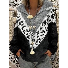 Print Color Block Chunky knit Hooded Sweaters