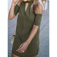 Solid Short Sleeves/Cold Shoulder Sleeve Sheath Above Knee Little Black/Casual/Elegant Dresses