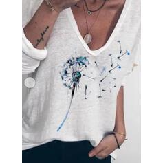 Print V-Neck Long Sleeves Casual T-shirts