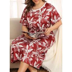 Gola Redonda Manga Curta Impressão Attractive Vestido de noite