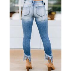 shirred Ripped Tassel Beskåret Boho Elegant Sexet Denim & Jeans