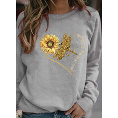 Animal Print Sunflower Print Figure Round Neck Long Sleeves Sweatshirt