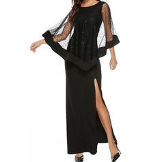 Lace/Solid Long Sleeves Sheath Maxi Little Black/Party/Elegant Dresses