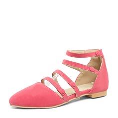 De mujer Ante Tacón plano Sandalias Planos Cerrados con Hebilla Cordones zapatos