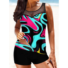 Print Splice color Strap Round Neck Plus Size Boho Tankinis Swimsuits