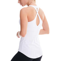 U-Neck Sleeveless Solid Color Sports Tees