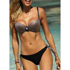 Enfärgad Tryck upp Rem Sexig bikini Badkläder