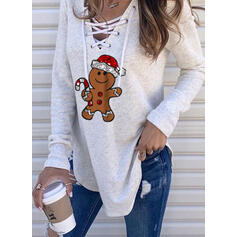 Print Sequins V-Neck Long Sleeves Christmas Sweatshirt