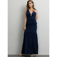 Solid Sleeveless A-line Maxi Sexy/Party Dresses