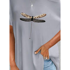 Αποτύπωμα Ζώου Στρογγυλός Λαιμός Κοντά Μανίκια Καθημερινό Блузи