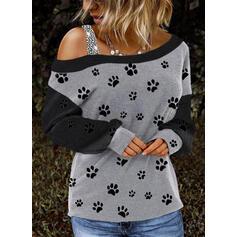 Dierenprint Pailletten One Shoulder Lange Mouwen Casual Overhemd