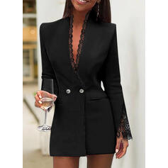 Lace/Solid Long Sleeves Bodycon Above Knee Little Black/Elegant Dresses