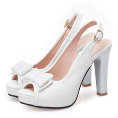 Women's Leatherette Chunky Heel Sandals Pumps Platform Peep Toe Slingbacks With Bowknot Sequin shoes