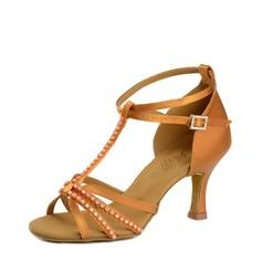 Women's Latin Heels Sandals Satin Silk Latin