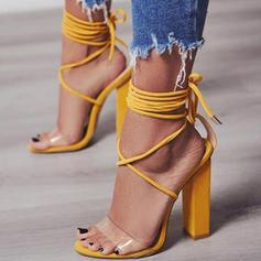 Femmes PU Talon bottier Sandales Escarpins À bout ouvert avec Dentelle chaussures