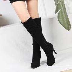 Női Szarvasbőr Tűsarok Magassarkú Emelvény Zárt lábujj Csizma Térdig érő csizmák -Val Egyéb cipő