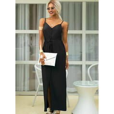 Solid Sleeveless A-line Slip/Skater Little Black/Casual/Vacation Maxi Dresses