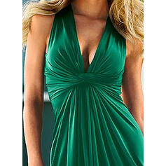 Solid Sleeveless A-line Above Knee Sexy/Casual Dresses
