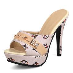 Kvinnor PU Stilettklack Sandaler Pumps Tofflor med Nita skor