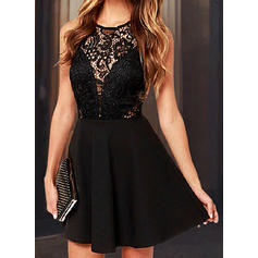 Lace/Solid Sleeveless A-line Above Knee Little Black/Sexy/Party Dresses